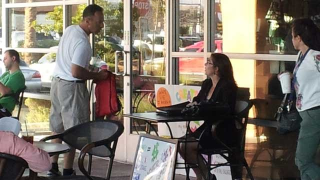 Goot also solicited for work at a local Starbucks. (Elizabeth Watts/FOX5)