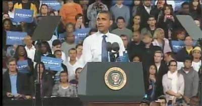 President Barack Obama addresses a crowd at Doolittle Park.