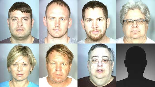 "The eight arrested in Las Vegas: (top l-r) Michael Colbert; David Paulk; Paul Sexton; Jerry Branca. (Bottom l-r) Kelli Barsel; Brandt England; Steven Diano. The eighth arrest, Ian Mandell, was hospitalized and booked ""in absentia,"" Metro said."