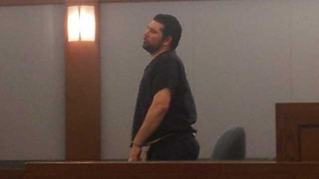 Justin Caramanica appeared shackled in court for his sentencing. (Peter Dawson/FOX5)