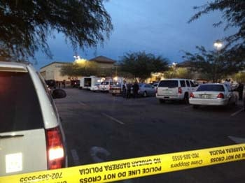 An officer-involved shooting inside the Albertsons grocery store at Lake Mead and Boulder Highway. (Lindsay Curtis/FOX5)