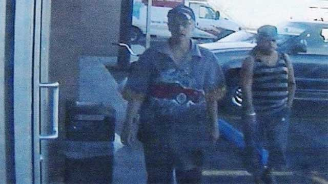 Police believe the person on the left robbed a woman at gunpoint in downtown Las Vegas. (LVMPD)