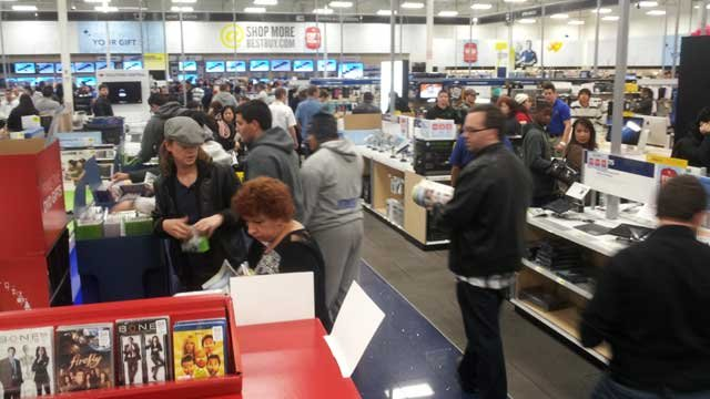 Shoppers stayed up for the midnight opening of Black Friday sales at Best Buy.