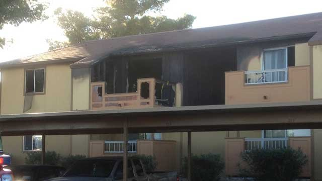 A gutted apartment was left following a fire Sunday afternoon. (Las Vegas Fire & Rescue)