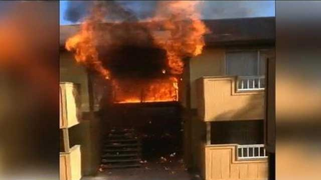 A viewer-submitted video captured the moment the blaze broke out at the Alpine Village Apartments.
