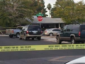 The scene of the double shooting on Sunland. (Matt DeLucia/FOX5)