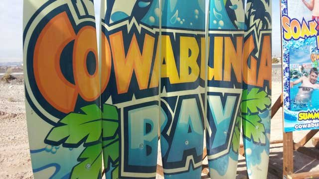 Cowabunga Bay signage was prevalent during the groundbreaking ceremony. (Jason Valle/FOX5)