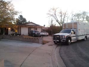 The alleged marijuana grow house on Blackridge Road in Henderson. (Matt DeLucia/FOX5)