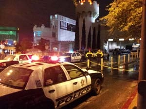 Metro police at the Excalibur Friday night. (Arron Healy/FOX5)