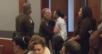 "Phillip Morris (father) shouted: ""Where's my baby?"" as he was removed from the courtroom Wednesday"