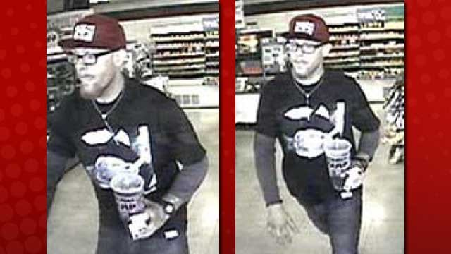 The Nov. 5 robbery suspect retrieved a fountain drink before trying to rob a clerk. (LVMPD)