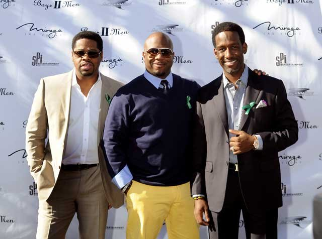 Members of the group Boyz II Men (from left, Nathan Morris, Wanya Morris and Shawn Stockman) announce they will begin a residency at The Mirage.  (Brian Jones/Las Vegas News Bureau)
