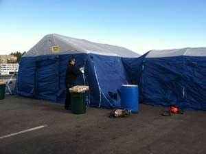 The overflow tent is assembled outside Spring Valley Hospital. (Azenith Smith/FOX5)