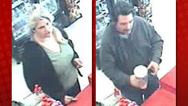Police said a woman and man were seen using a robbery victim's credit card. (LVMPD)