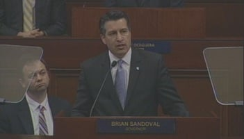 File photo of Gov. Brian Sandoval (R-NV) giving his first State of the State address on Jan. 24, 2011