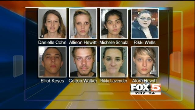The suspects connected to a theft and drug ring in Pahrump. Rikki Wells, top row, far right, is still being sought.
