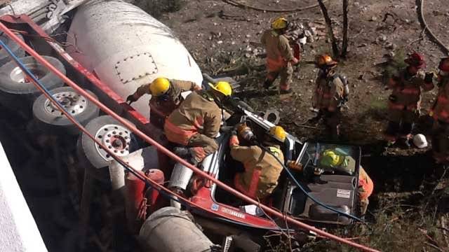 The cement truck rolled off an embankment, leading to the death of its driver. (Las Vegas Fire and Rescue)