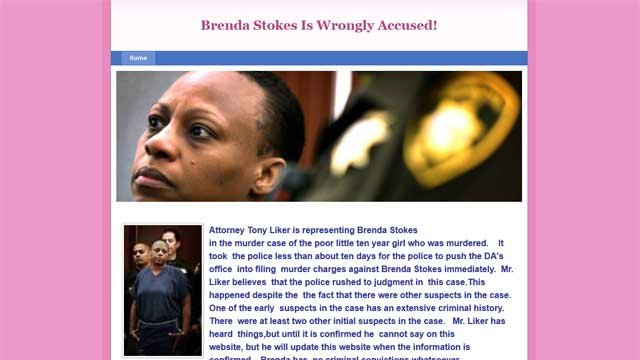 The website built on behalf of Atty. Tony Liker and accused killer Brenda Stokes appeals for donations. (Website screengrab)