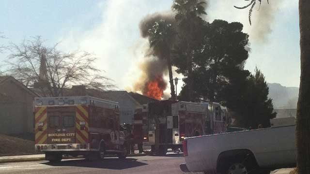 Fire crews were on scene of a reported fire and homicide in Boulder City.  (Courtesy: Marquela Waldo)