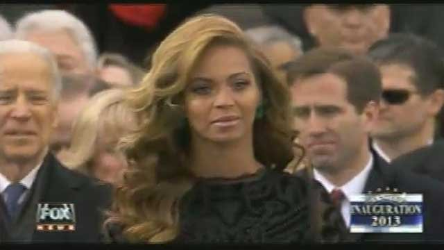 Pop singer Beyonce reportedly sang the National Anthem on a pre-recorded backing track during the Inauguration Ceremony.