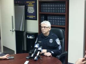 North Las Vegas Police Sgt. Tim Bedwell briefs the media. (Doug Johnson/FOX5)