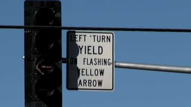 Las Vegas Metro police produced a video to educate drivers on flashing yellow left turn signals. (LVMPD/YouTube)
