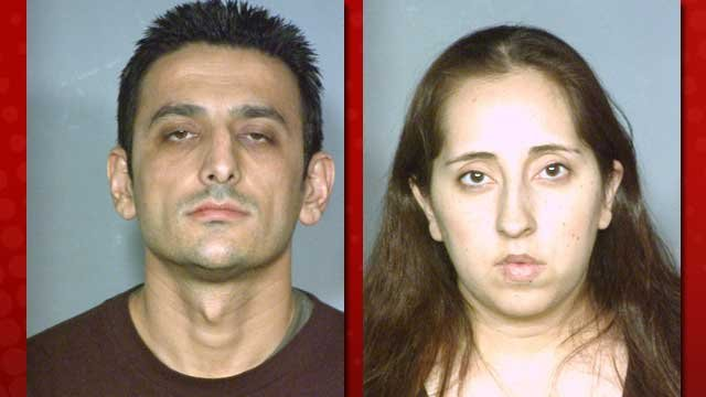 Mustafa Ahmadi, left, and Sonia Qudrat, right, were arrested following a takedown of counterfeit sports apparel. (LVMPD)
