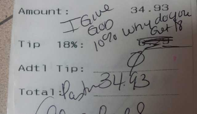 "A food server said a pastor refused to tip her. (Reddit user ""gateflan"")"