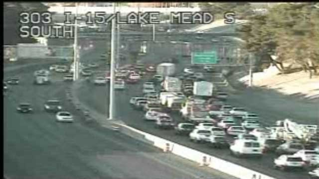 Traffic camera at Interstate 15 and Lake Mead showed traffic backed up for several miles in North Las Vegas. (LV ACTS)