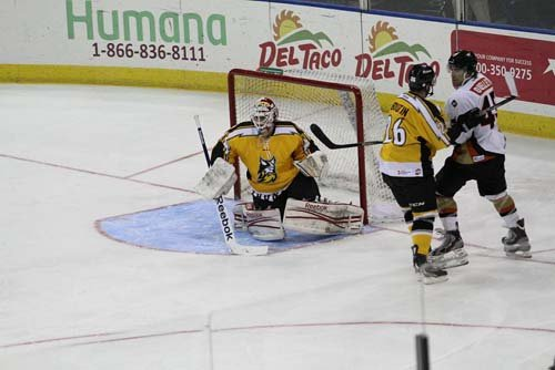 Jody O'Neill in net with the Stockton Thunder. (Courtesy of the Stockton Thunder)