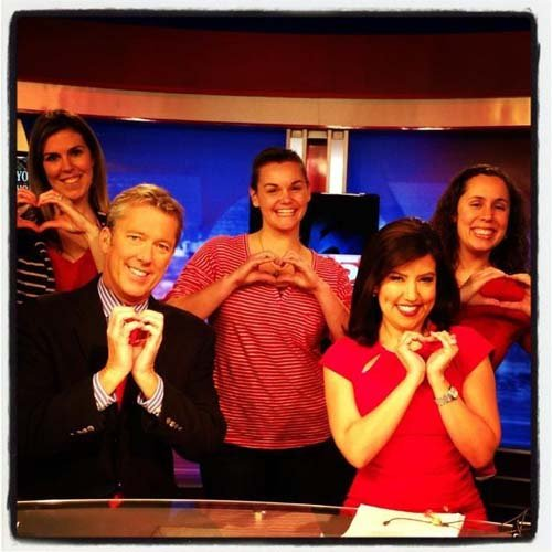 John, Olivia and three FOX5 producers Go Red for Women. (Stephanie Wheatley/FOX5)