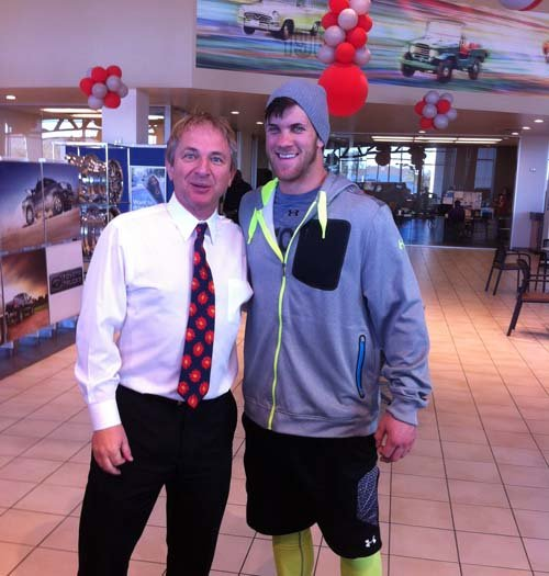 Bryce Harper with Findlay Toyota's John Barr