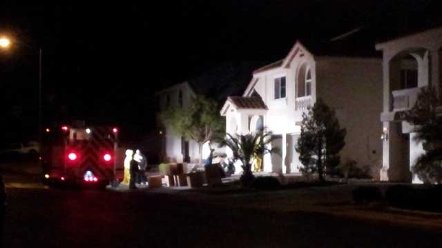 A fire truck was parked in front of a home where a marijuana grow operation was found. (Armando Navarro/FOX5)