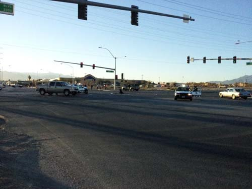 Metro officers were involved in a crash at Nellis and Carey on Wednesday afternoon. (Arron Healy/FOX5)