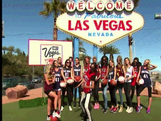 SI swimsuit models do the Harlem Shake in front of the Welcome to Fabulous Las Vegas sign.