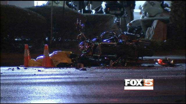 Wreckage of a motorcycle involved in a deadly collision. (Eric Youngman/FOX5)