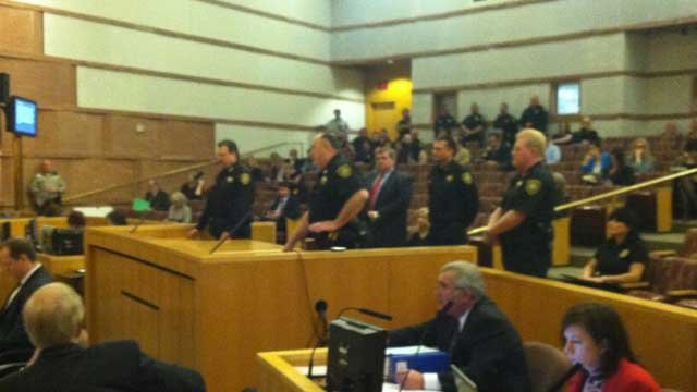 Constable John Bonaventura was flanked by colleagues as he appealed to the Clark County Board of Commissioners on Feb. 19, 2013. (Azenith Smith/FOX5)