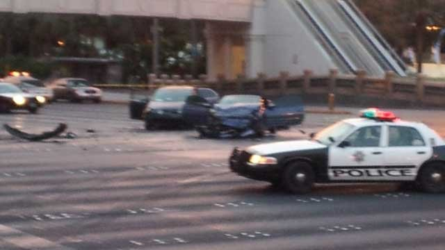 Two of the vehicles involved in the deadly multi-vehicle wreck that resulted from a rolling gun battle at the Las Vegas Strip. (Dave Lawrence/FOX5)