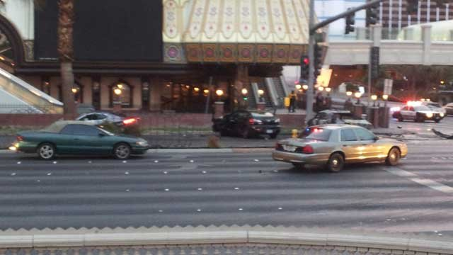 Three vehicles involved in the wreck in front of Bill's Gambling Hall. (Dave Lawrence/FOX5)