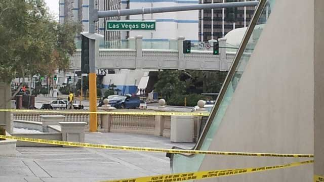 The usually bustling pedestrian corner at Las Vegas Boulevard and Flamingo Road was closed off following the deadly shooting and wreck on Feb. 21, 2013. (Dave Lawrence/FOX5)