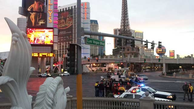 Las Vegas Metro police said the shooting happened just before 4:30 a.m. Thursday on Flamingo Road near Las Vegas Boulevard.