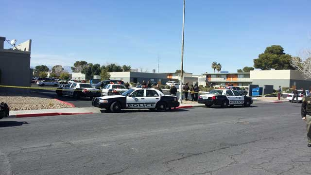 Police taped off an area just off E. Harmon Avenue on Feb. 22, 2013. (Joe Lybarger/FOX5)