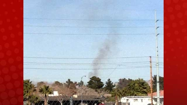 Black smoke was seen in the east end of the Las Vegas valley connected to a fire on Feb. 22, 2013. (Chelsea Fehringer/FOX5)