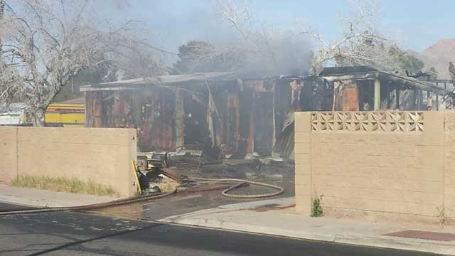 A building smolders following a fire in east Las Vegas. (Doug Johnson/FOX5)
