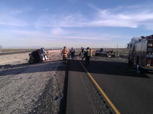 The scene of the crash on U.S. 95 near Kyle Canyon Road. (Courtesy: Chip Garrett)