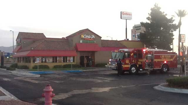 Officials said the restaurant was open at the time when a rooftop fire sparked, but there was no customers inside.   (Las Vegas Fire and Rescue)