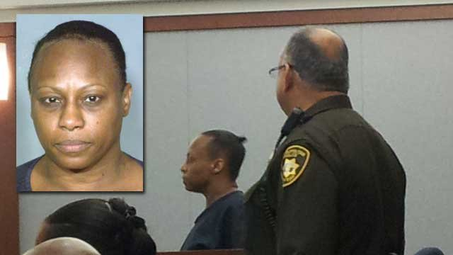 Brenda Stokes appeared for her arraignment in Las Vegas Justice Court on March 6, 2013. (inset, LVMPD)