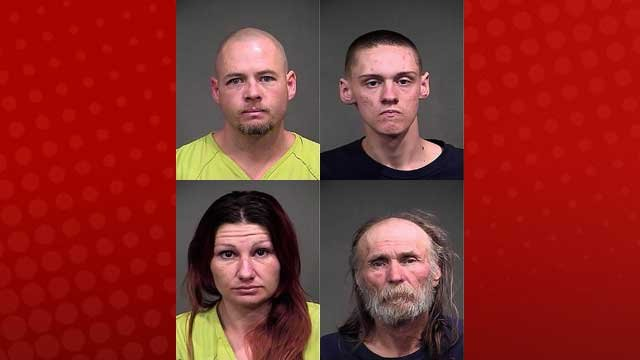 Top, l-r: Nolan Gene Martin; Manuel Ricardo Duvall, Jr. Bottom, l-r: Gina Maria Denubilo; Jimmy Lee Clouse. (Mohave County Sheriff's Office)