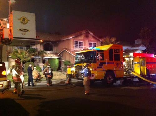 "The scene of the two-story house fire in the west valley. (Chris ""Boze"" Anguay/FOX5)"
