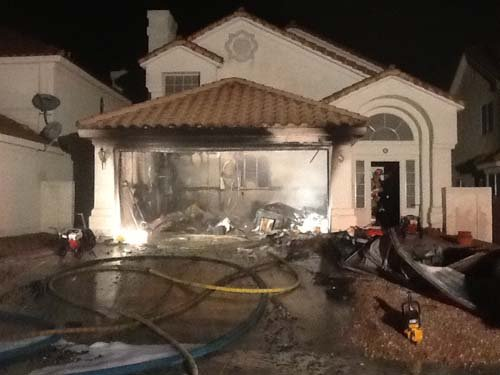 The garage fire on Maplestar Road. (Courtesy: Tim Szymanski, Las Vegas Fire and Rescue)